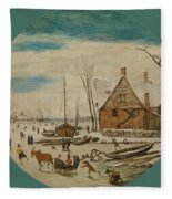 Winter Landscape With Skaters And A Farm House Fleece Blanket
