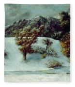 Winter Landscape With The Dents Du Midi Fleece Blanket