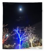 Winter Lights Full Moon Fleece Blanket