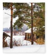 Winter Log Cabin 3 - Paint Fleece Blanket