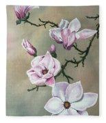 Winter Magnolia Blooms Fleece Blanket