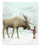 Winter Moose Fleece Blanket