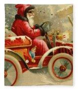 Winter Motoring, Victorian Christmas Card Fleece Blanket