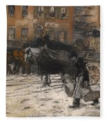 Winter On 21st Street - New York Fleece Blanket