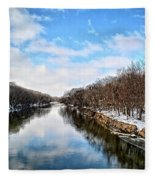 Winter On The Cedar Fleece Blanket