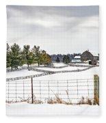 Winter Ontario Farm 3 Fleece Blanket