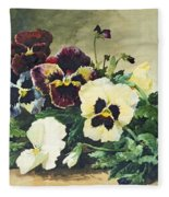 Winter Pansies Fleece Blanket