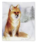 Winter Red Fox Fleece Blanket