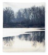 Winter Reflection On The Yakima River Fleece Blanket