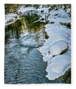 Winter River Reflections - Yellowstone Fleece Blanket