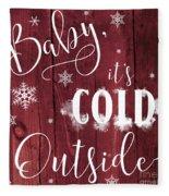 Winter Rustic Wood Sign Fleece Blanket