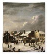 Winter Scene In Brooklyn Fleece Blanket