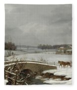 Winter Scene In Pennsylvania Fleece Blanket
