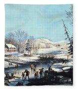 Winter Scene: Morning 1854 Fleece Blanket