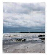 Winter Seascape 2 - Lyme Regis Fleece Blanket
