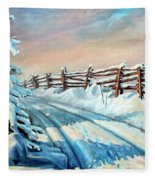 Winter Snow Tracks Fleece Blanket