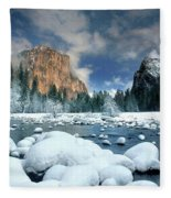 Winter Storm In Yosemite National Park Fleece Blanket