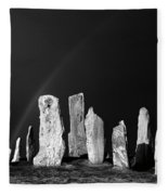 Winter Storm Sky Over Callanish. Outer Hebrides, Scotland.    Black And White Fleece Blanket