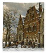 Winter Street Scene. Oudewater Fleece Blanket