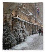 Winter Stroll In Helsinki Fleece Blanket