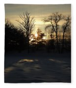 Winter Sunrise Shadows Fleece Blanket
