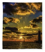 Winter Sunset At Muskegon Channel Light Fleece Blanket