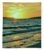 Winter Sunset At Wellfleet Harbor Fleece Blanket