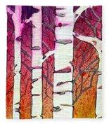Winter Sunset Birch Fleece Blanket
