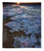 Winter Sunset On Fire Island Fleece Blanket