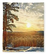 Winter Sunset Over The Mountains Fleece Blanket