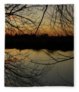 Winter Sunset Reflection Fleece Blanket