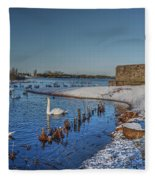 Winter Swan Lake Fleece Blanket