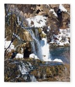 Winter Time At The Falls Fleece Blanket