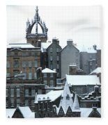 Winter Townscape Scotland Fleece Blanket