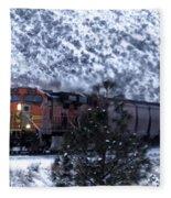 Winter Train Fleece Blanket