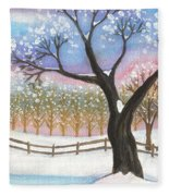 Winter Tree Landscape Fleece Blanket