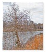 Winter Tree On Pond Shore Fleece Blanket