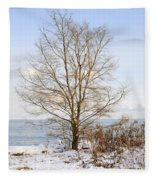 Winter Tree On Shore Fleece Blanket