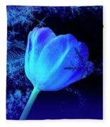 Winter Tulip Blue Theme 2 Fleece Blanket