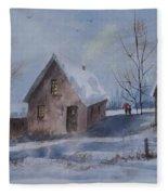 Winter Walk, Watercolor Painting Fleece Blanket
