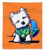 Winter Westie With Lime Fleece Blanket