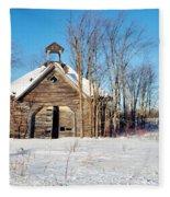 Winter Wisconsin Barn Fleece Blanket
