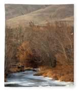 Winter Yakima River With Hills And Orchard Fleece Blanket