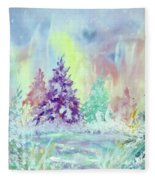 Winter Wonderland Aurora Borealis  Fleece Blanket