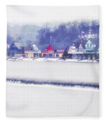 Wintertime At The Fairmount Dam And Boathouse Row Fleece Blanket