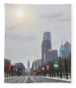 Wintertime - Benjamin Franklin Parkway Fleece Blanket