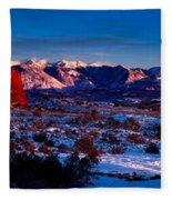 Wintry Sunset Glow  Fleece Blanket