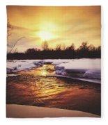 Wintry Sunset Reflections Fleece Blanket