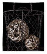 Wire Basket And Balls Still Life Fleece Blanket