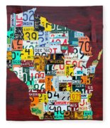 Wisconsin Counties Vintage Recycled License Plate Map Art On Red Barn Wood Fleece Blanket